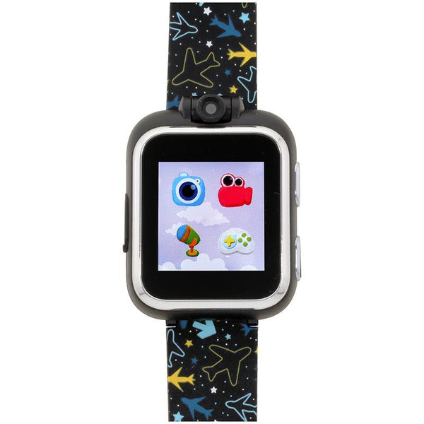 iTouch Wearables Kids Playzoom Smart Watch with Black Airplane Print Strap