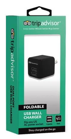 Trip Advisor Dual USB Port 2.1A Wall Charger