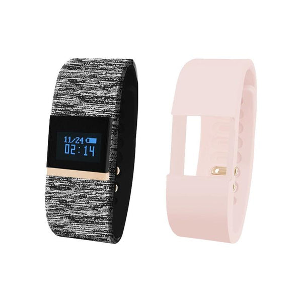iTouch Wearables Bluetooth¨ Interchangeable Strap Fitness Tracker - (Rose and Multi Black)