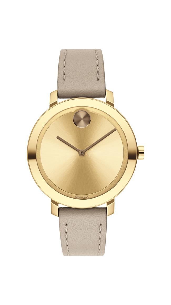 Movado BOLD Ladies, Pale YGIP SS Case with a Beige Leather Strap and a YGIP Dial