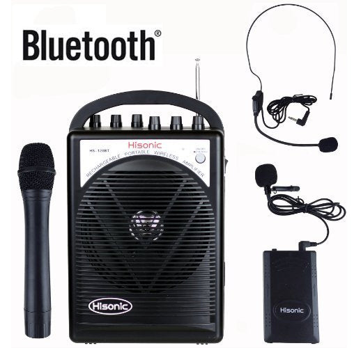 Hisonic Rechargeable & Portable PA System with Built-in VHF Wireless Microphone, 12V Car Cable, Carrying Bag
