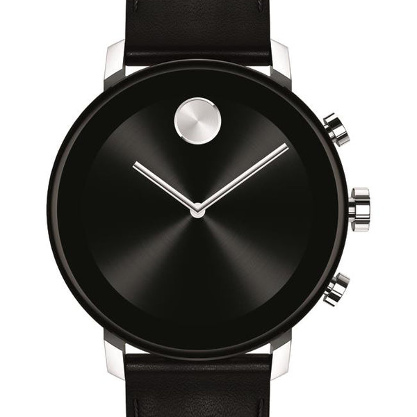 Movado Connect 2.0 Smartwatch,Unisex. Stainless Steel Case, Black leather strap.