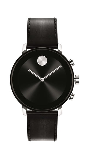 Movado Connect 2.0 Smartwatch, Unisex, Stainless Steel Case, Black Leather Strap