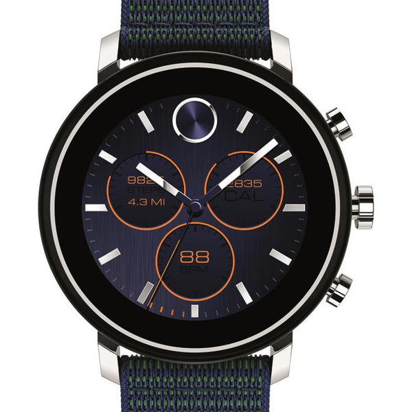 Movado Connect 2.0 Smartwatch, Unisex. Stainless Steel Case, Navy Velcro Fabric strap.