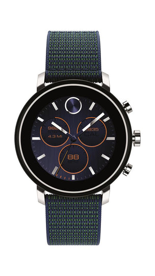 Movado Connect 2.0 Smartwatch, Unisex, Stainless Steel Case, Navy Velcro Fabric Strap