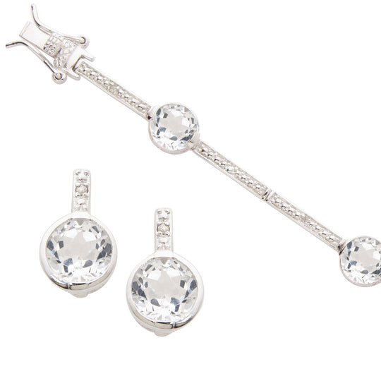 White Topaz Bracelet & Earring Set