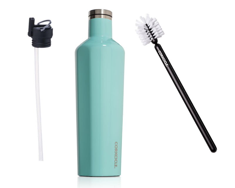 25oz Canteen w/Bottle Brush & Canteen Cap w/Straw - Gloss Turquoise