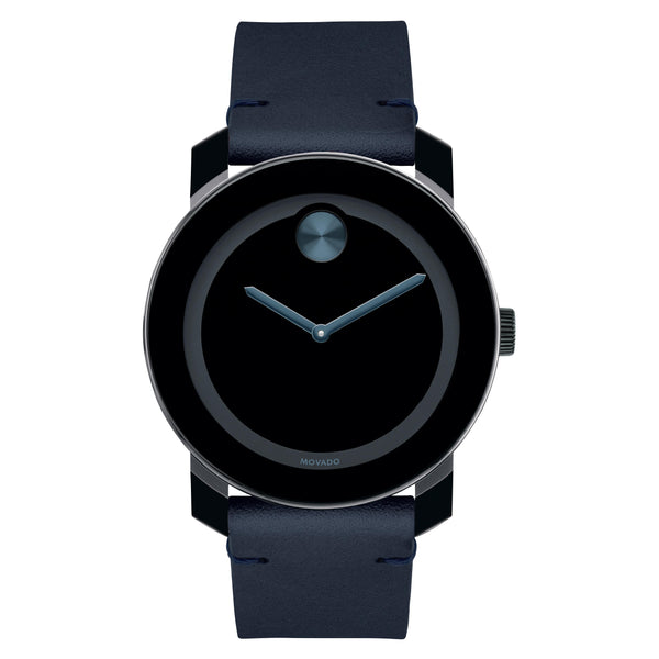Movado Bold Gents. 42Mm TR90 ion-plated SS Case. Dark navy leather strap. Black-Toned Dial.