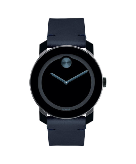 Movado Bold Gents, 42 mm TR90 Ion-plated SS Case, Dark Navy Leather Strap, Black-Toned Dial