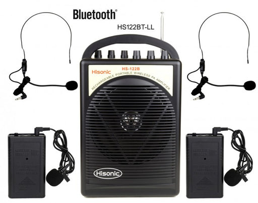 Hisonic Portable PA System-2-Channel Wireless Mics, Rechargeable, Bluetooth Streaming, 2 Belt Pack Sets