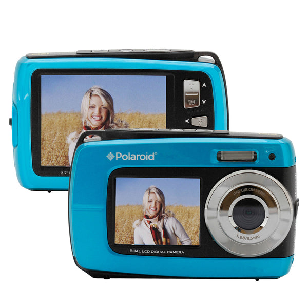 "Polaroid 18.1MP Dual 2.7""/1.8"" Screen Waterproof DigiCam, 5x Zoom-Blue"