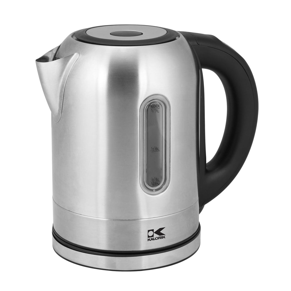 Kalorik Stainless Steel Digital Water Kettle with Color Changing LED lights.