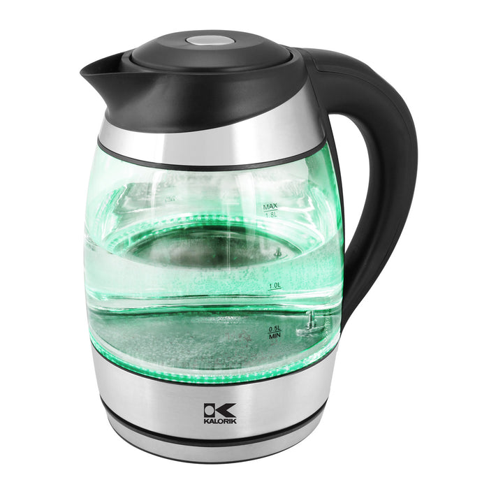 Kalorik Glass Digital Water Kettle with Color Changing LED lights.
