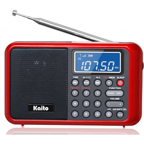 Digital AM/FM/Shortwave Radio/MP3 Player/Recorder, Clock & Alarm, Backlit LCD Display
