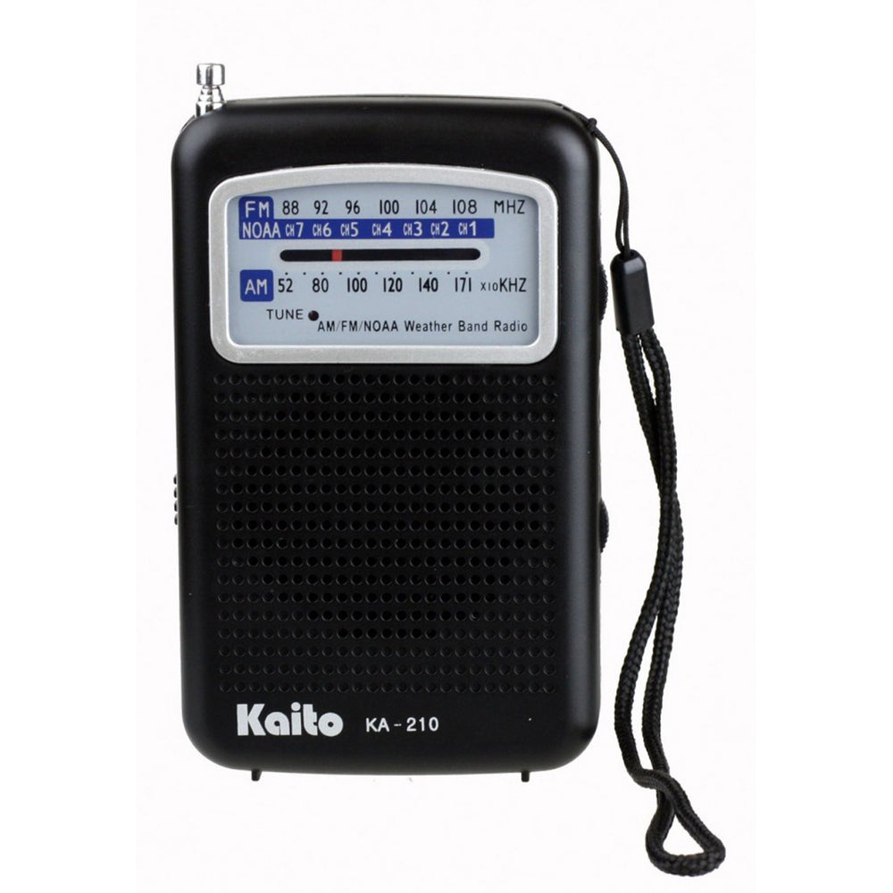 NOAA Weather, 7 Ch., AM/FM Pocket Size Transistor Radio with Built-in Speaker & Telescopic Antenna