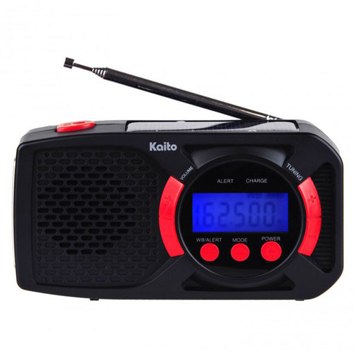 Digital Solar/Crank AM/FM/SW/NOAA Weather Alert Radio, USB Cell Charger, 3-LED Flashlight - Black+Red