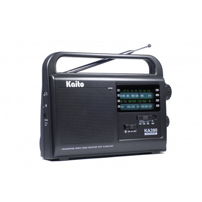 Kaito AM, FM, Shortwave & NOAA Weather Radio with High-Sensitivity Tuner & Flashlight