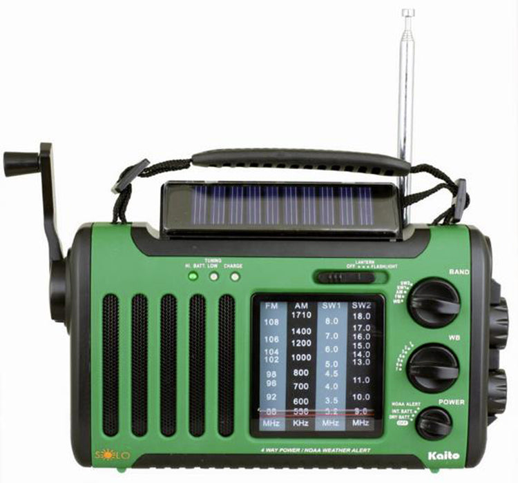 Voyager Solo Solar/Crank AM/FM/SW/NOAA Alert, Cell Phone Charger, Flashlight/LED Reading Lamp
