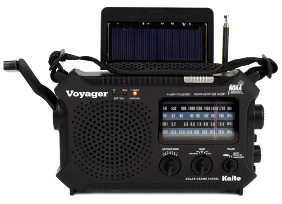 Voyager Classic II Solar/Crank AM/FM/SW/NOAA Alert, Cell Charger, Flashlight,