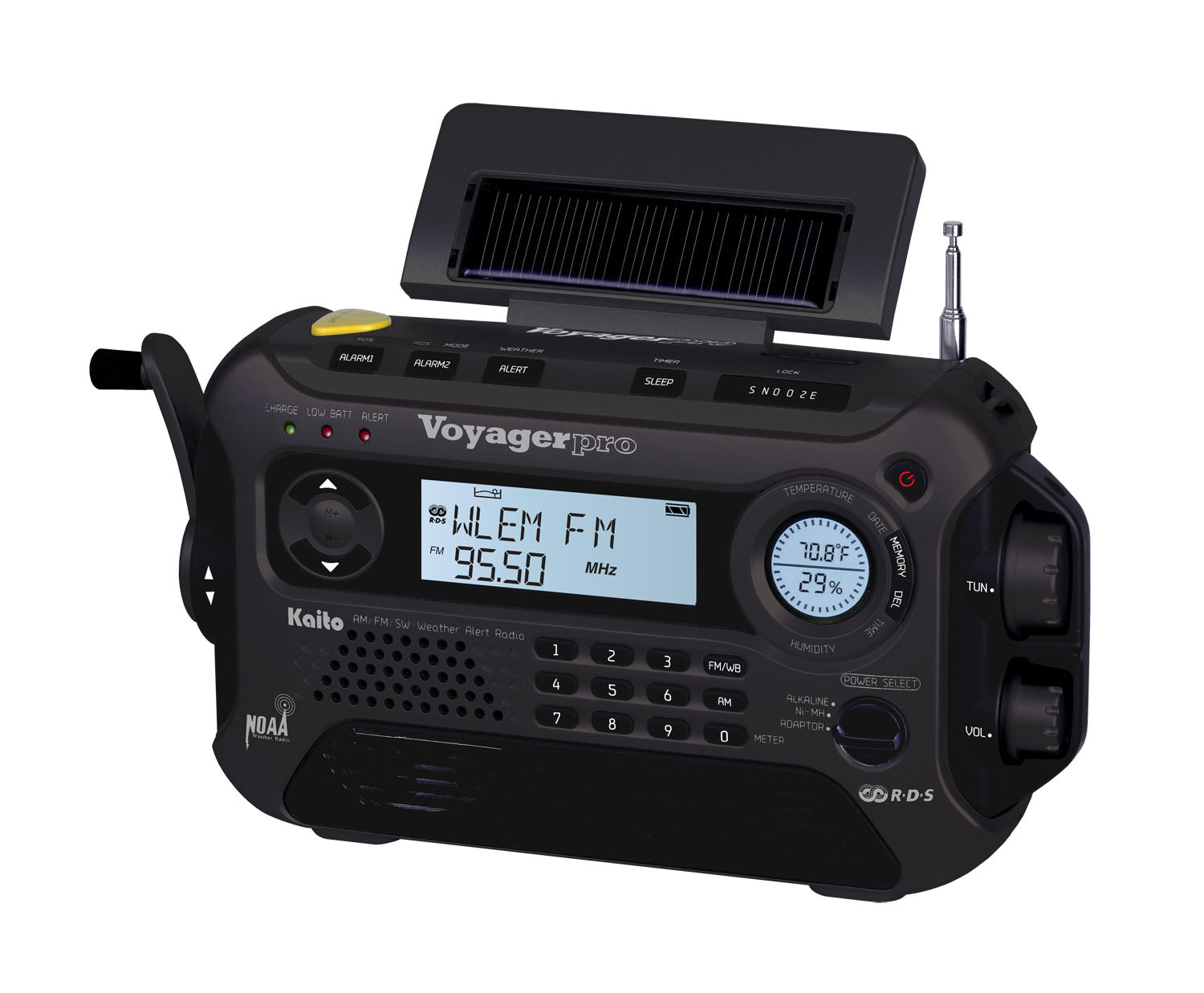 Voyager Pro' Digital Solar & Crank Power Rechargeable Radio