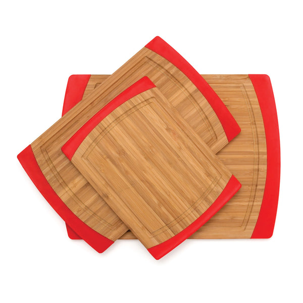 Bamboo and Red Silicone Non Slip Cutting Board