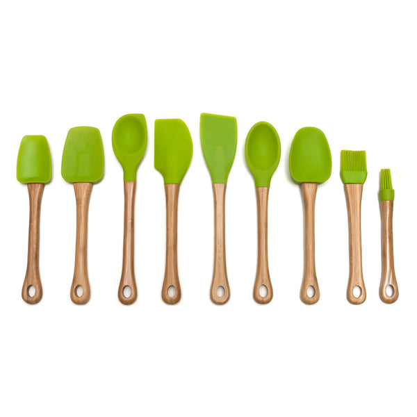Silicone Small Spoonula with Bamboo Handle