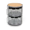 Two Tier Grey Metal and Bamboo 18 Bottle Round Spice Tower