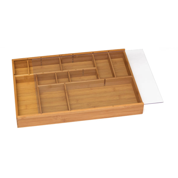 Adjustable Drawer Organizer with Acrylic Slide Cover