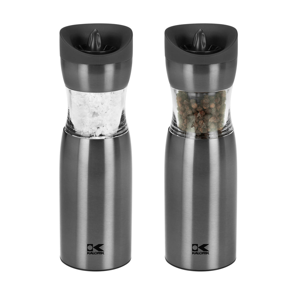 Kalorik Gunmetal Gravity Salt and Pepper Grinder Set.