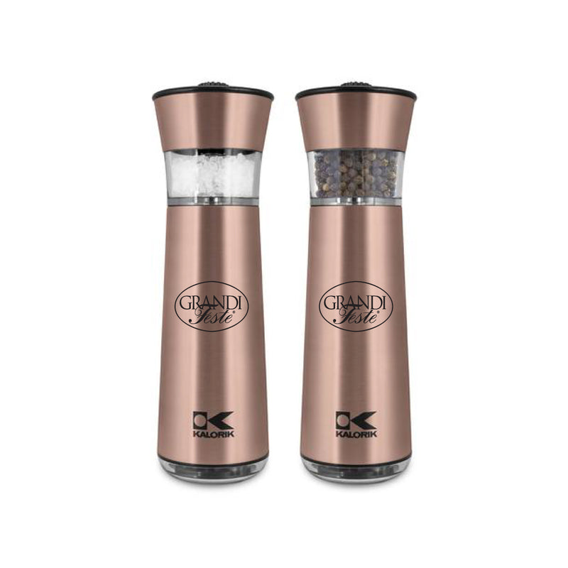 Kalorik Easygrind Electric Gravity Salt and Pepper Grinder Set Copper