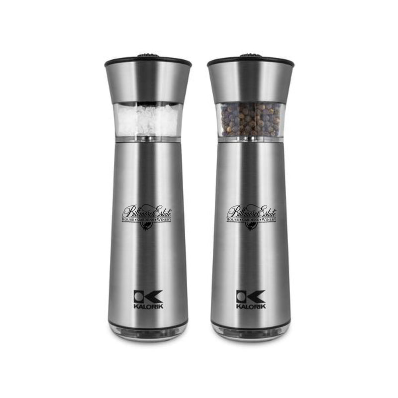 Kalorik Easygrind Electric Gravity Salt and Pepper Grinder Set Stainless Steel