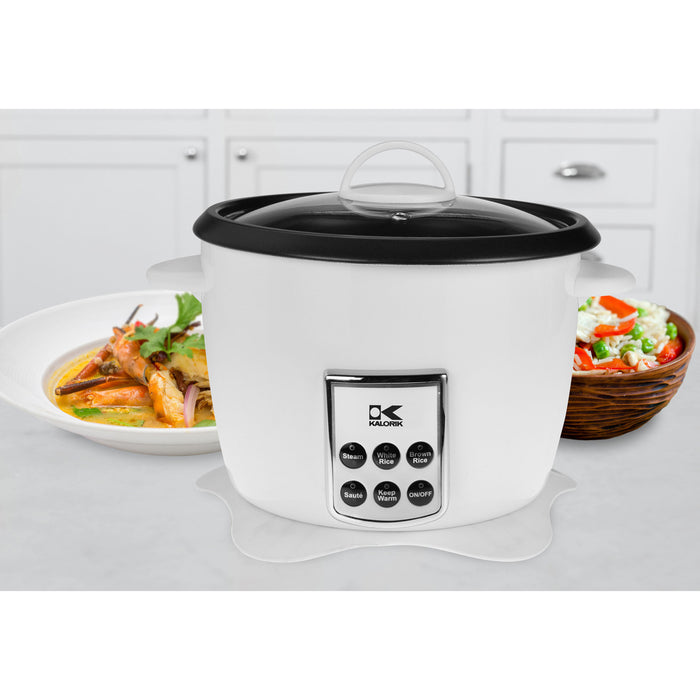 Kalorik White Multifunction Digital Rice Cooker with Retractable Power Cord.
