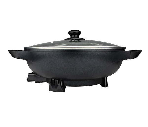 Brentwood **NEW** 13-Inch Non-Stick Flat Bottom Electric Wok Skillet with Vented Glass Lid, Black