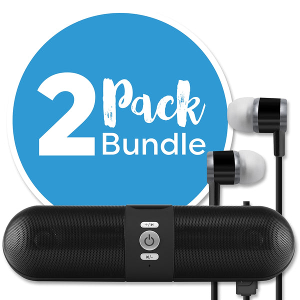 Bluetooth Speaker + Bluetooth Earbuds Combo Pack