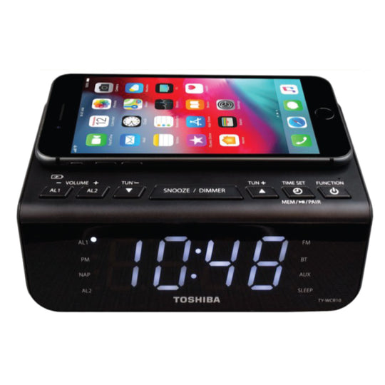 Toshiba Bluetooth Speaker with Qi Charging Clock/Radio/Dual Alarm