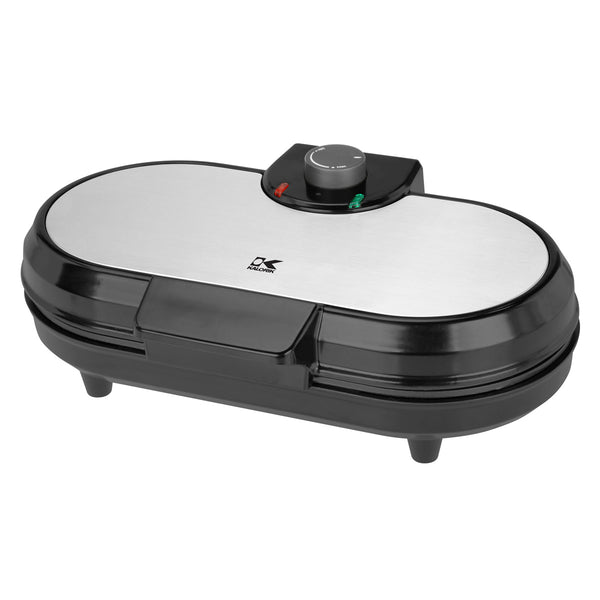 Kalorik Black and Stainless Steel Double Belgian Waffle Maker.