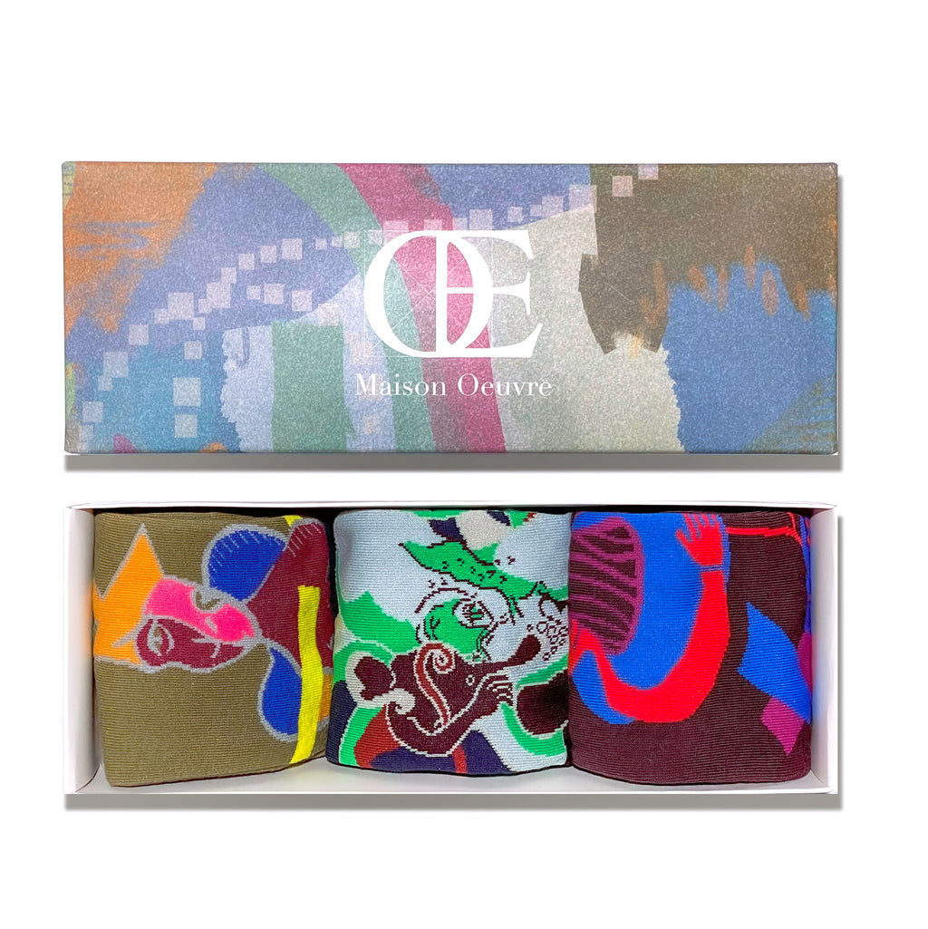 Art Now Socks Gift Box 3-Pack (with 3 originally designed postcards)