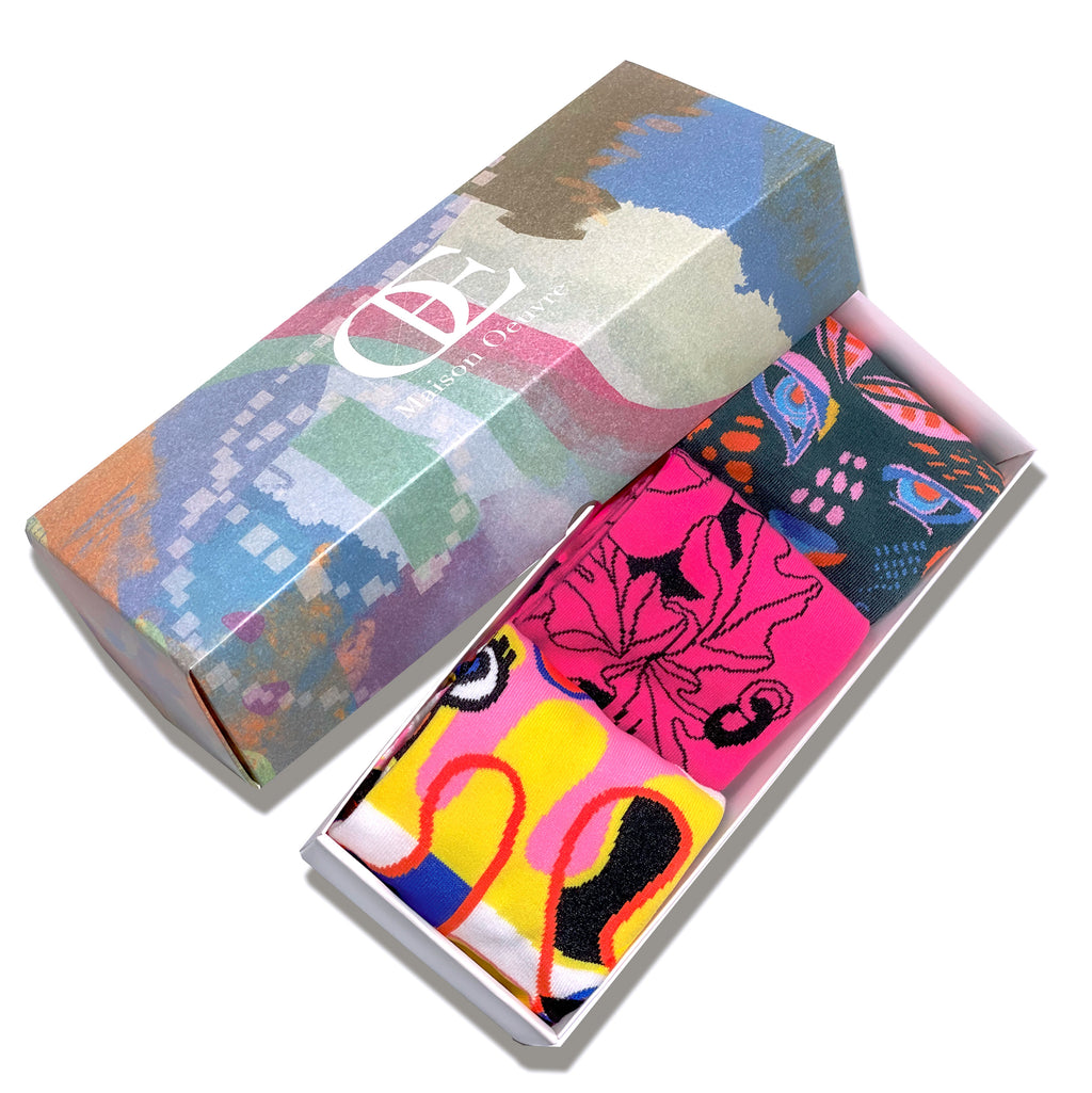Funky Funny Socks Gift Box 3-Pack (with 3 originally designed postcards)