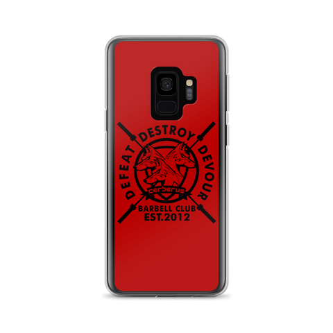 Image of Barbell Samsung Case Black on Red