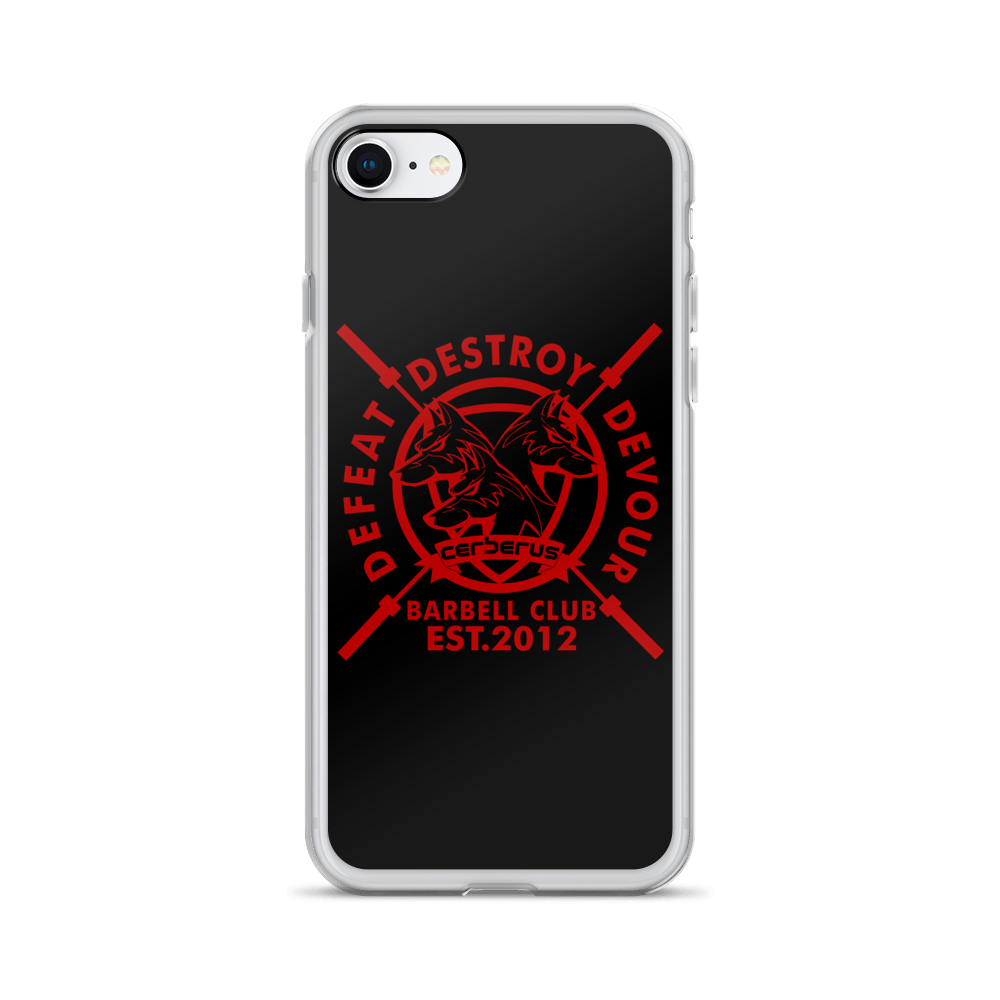 Barbell Red On Black iPhone Case