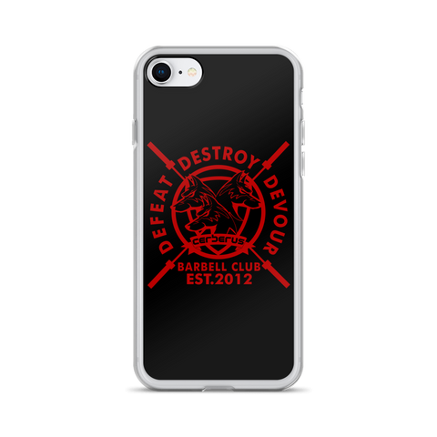 Image of Barbell Red On Black iPhone Case