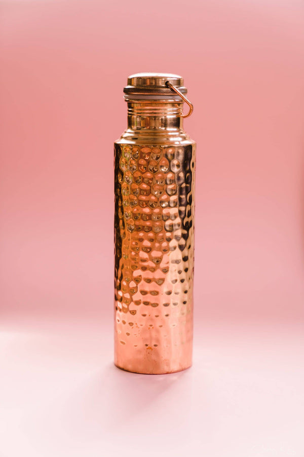 AQUA VEDIC Hammered Copper Drink Bottle 900ml - Yoga Tribe NZ
