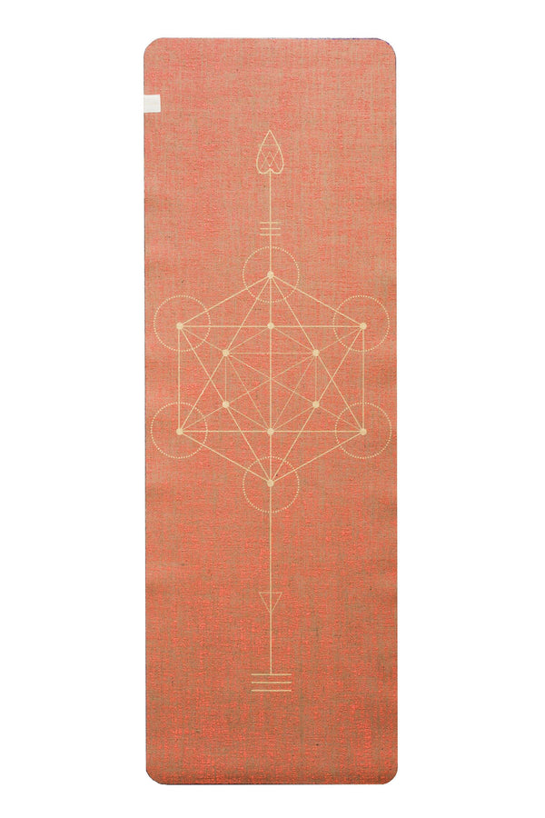 Factory Second Metatron Coral Yellow Print  Organic Jute 100% Eco YogaTribe® Mat - Yoga Tribe NZ