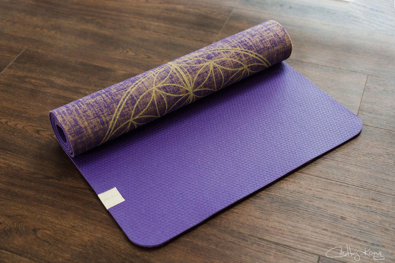 Factory Seconds Flower Of Life Mystikka Purple Organic Jute 100% Eco YogaTribe® Mat - Yoga Tribe NZ