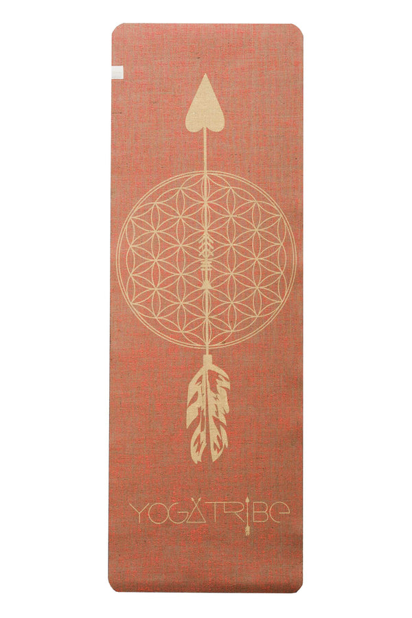 Factory Seconds Flower of Life Coral Yellow PRINT ORGANIC JUTE 100% ECO YOGATRIBE® MAT - Yoga Tribe NZ