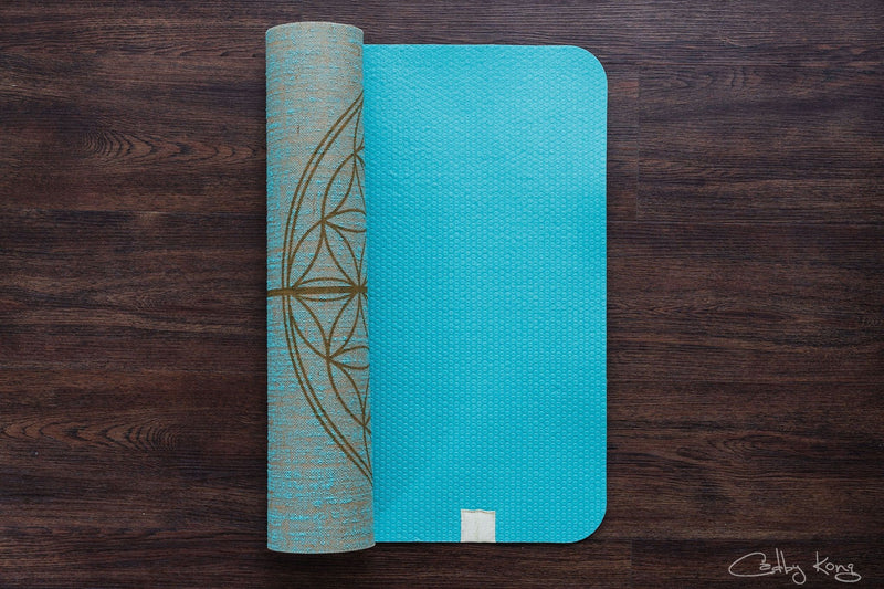 Flower Of Life Aqua Gold print Organic Jute 100% Eco YogaTribe® Mat - Yoga Tribe NZ
