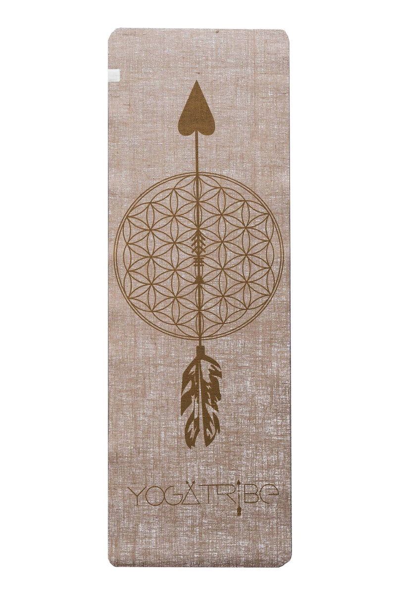 Flower Of Life Beige Gold Print Organic Jute 100% Eco YogaTribe® Mat - Yoga Tribe NZ