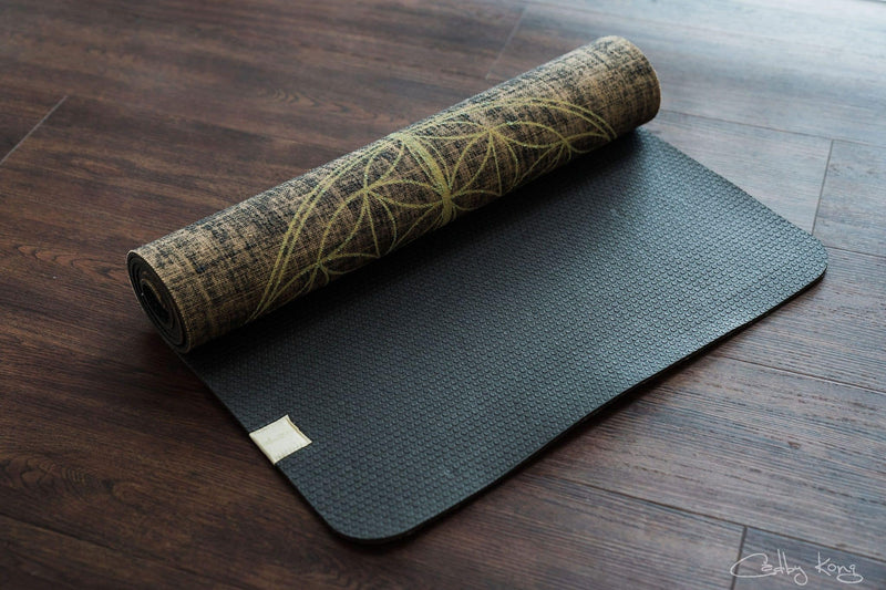 Flower Of Life Black Organic Jute 100% Eco YogaTribe® Mat - Yoga Tribe NZ