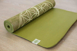 Flower Of Life Pistachio Organic Jute 100% Eco YogaTribe® Mat - Yoga Tribe NZ