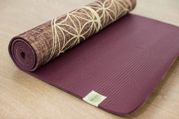 Flower Of Life Red Wine Organic Jute 100% Eco YogaTribe® Mat - Yoga Tribe NZ